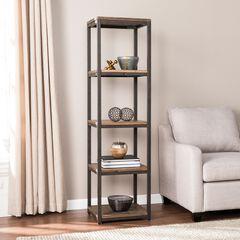 Lattimer Reclaimed Wood Media Bookcase, BLACK