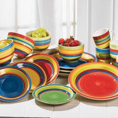 Santa Fe Hand-Painted Striped Stoneware Dinnerware, MULTI STRIPE