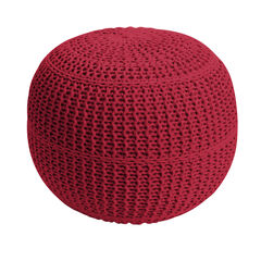BH Studio® Hand-Knitted Ottoman Pouf, RED