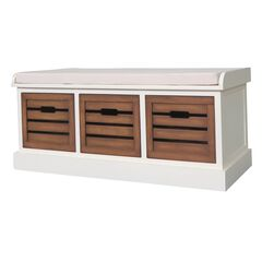 White Honeynut 3-Drawer Bench by J. Hunt, WHITE