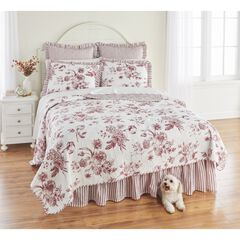 Frances 6-Pc. Rose Pattern Quilt Set, RED WHITE