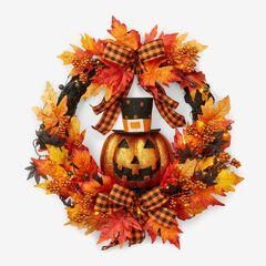 """24"""" Jack-O-Lantern Wreath, ORANGE"""
