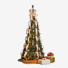 Fully Decorated Pre-Lit 6-Ft. Pop-Up Christmas Tree, PINK