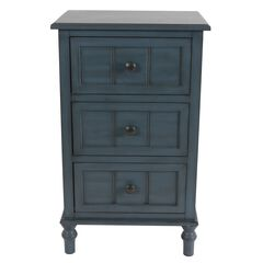 Antique Navy 3-Drawer Chest by J. Hunt, NAVY