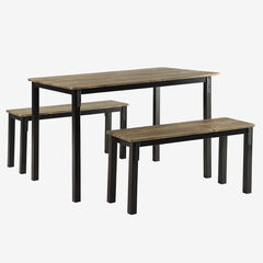 Boltzero Dining Table with 2 Benches, WASHED WALNUT