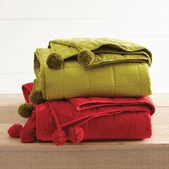 Velvet Pompom Blanket, GREEN