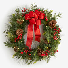 "Pre-Lit Classic 28"" Wreath, GREEN RED"