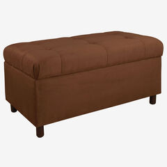 Upholstered Tufted Storage Bench in Microsuede, CHOCOLATE