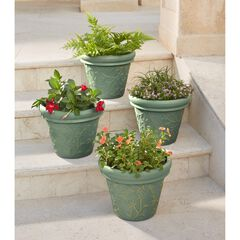 Set of 4 Floral Embossed Planters, BLUE