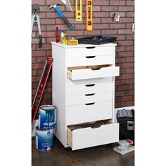 Cary Eight Drawer Rolling Storage Cart, WHITE