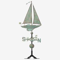 Copper Sailboat Weathervane, VERDIGRIS