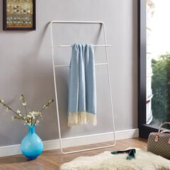 Marvin White Leaning Ladder Towel/Blanket Rack, WHITE