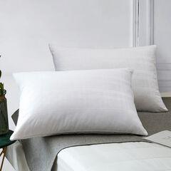Minifeather® T400 Dobby Windowpane Pillow, WHITE