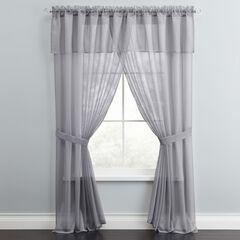 BH Studio Sheer Voile 5-Pc. One-Rod Curtain Set, SLATE