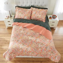 BH Studio Paisley 3-Pc. Microfiber Quilt Set, PUMPKIN MULTI