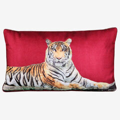 Tiger Reversible Decorative Pillow, MERLOT