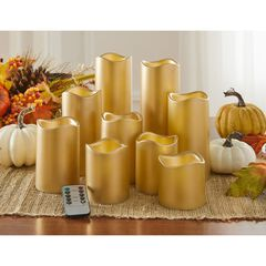 Battery-Operated Candles with Remote, Set of 9, GOLD