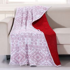 Greenland Home Fashions Holly, Cross Stitch Quilted Throw Blanket, WHITE