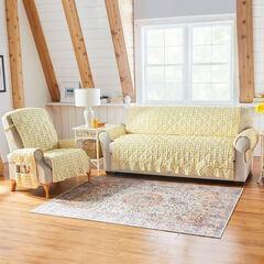 Gingham Ruffled Waterproof Microfiber Sofa Protector, YELLOW WHITE