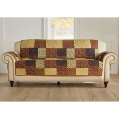 Printed Faux Patchwork Sofa Protector, BROWN GOLD