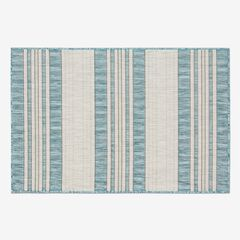 "Carmel Indoor/Outdoor Bold Stripe Rug 3'3"" x 4'11"", AQUA"