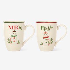 Lenox® Hosting The Holidays Set Of 2 Mr. & Mrs. Mug Set, WHITE