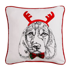 Holiday Dog with Antlers Pillow , MULTI