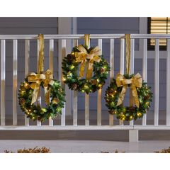 Set Of 3 Cordless Pre-Lit Mini Christmas Wreaths, GOLD