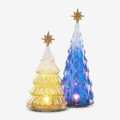 Lenox® 2-Pc. Lighted Glass Tree Set, BLUE YELLOW