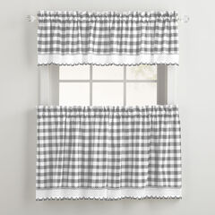 Buffalo Check Tier Curtain Set, GREY