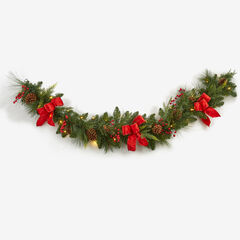 Pre-Lit Classic 9' Garland, GREEN RED