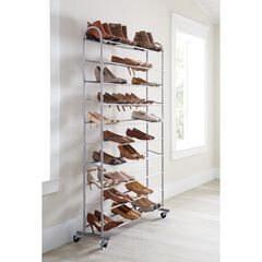 50-Pair Rolling Shoe Rack, SILVER