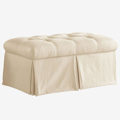 Skirted Storage Bench in Shantung, PARCHMENT