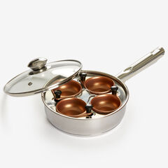 4-Cup Goldtone 10/10 Stainless Steel Egg Poacher, STAINLESS