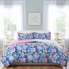 Nicole Miller Aurora Kid's Reversible Comforter Set, BLUE