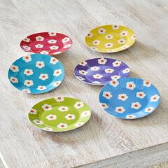 Daisy Dessert Plates, Set of 6, ASSORTED