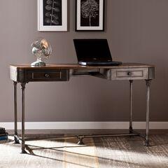 Edison Industrial 2-Drawer Desk, TOBACCO