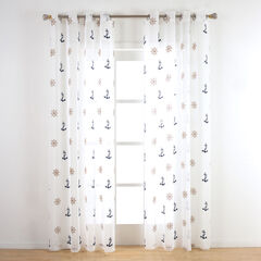 Seaport Embroidered Sheer Grommet Panel,