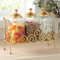 3-Pc. Glass Canisters with Lid & Stand,