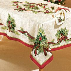 "Christmas Ribbons Tablecloth, 60""x120"" Oblong, CHRISTMAS RIBBON"