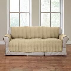 Reversible Plush Stripe Sofa Protector, GOLDEN TAN