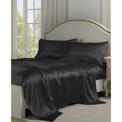 Belles & Whistles Black Satin Sheet Set, BLACK