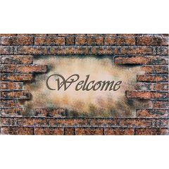 """Welcome Outdoor Rubber Entrance Mat 18"""" x 30"""", MULTI BRICK"""