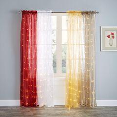 "84"" Pre-Lit Rod-Pocket Curtain Panel, BURGUNDY"
