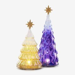 Lenox® 2-Pc. Lighted Glass Tree Set, PURPLE YELLOW