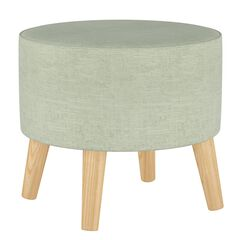 Linen Round Ottoman with Splayed Legs, LINEN BLUE