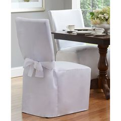 "Fresh Ideas Dining Room Chair Cover 42"" x 19"", WHITE"