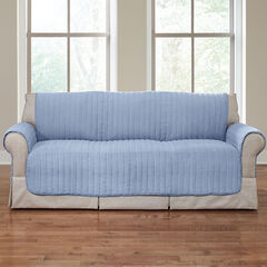 Reversible Plush Stripe Loveseat Protector,