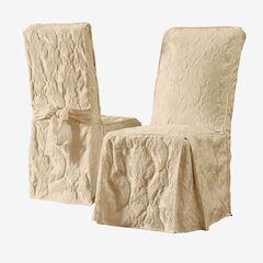 Matelasse Long Dining Room Chair Cover, TAN