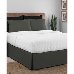 """Luxury Hotel Classic Tailored 14"""" Drop Grey Bed Skirt, GREY"""